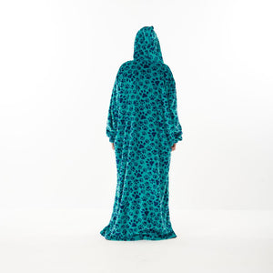 "Snuggs Monk Wearable Blanket ""Turquoise Dog Paws"""