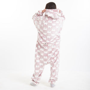 "Snuggs Blanket Animal Onesie ""Dark Red Polar Bear"""