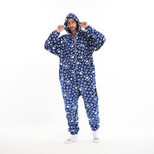"Snuggs Blanket Onesie ""Dark Blue Dog Paws"""