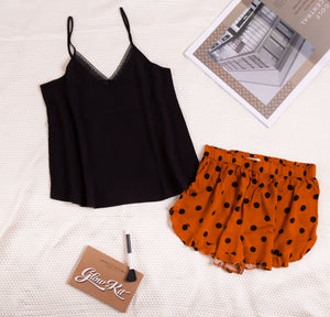 "Women summer pajama set with lace ""Black top + Havane polka dots shorts"""