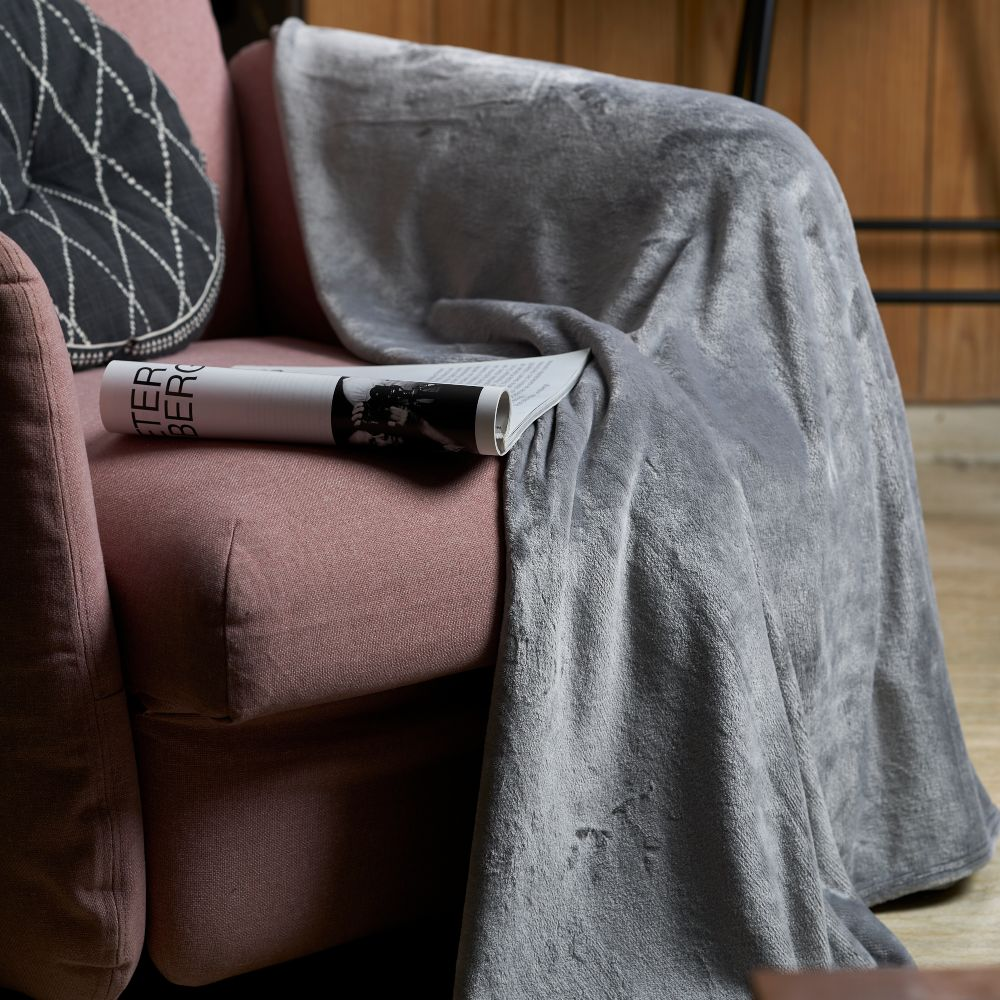 Sofa Blanket Throw - Light Grey
