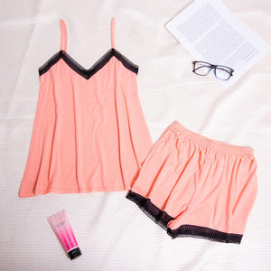 "Women summer pajama set with lace ""Coral top + shorts"""