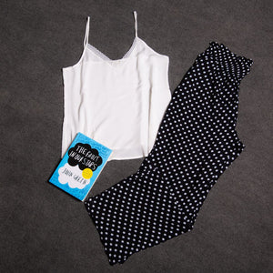 "Women summer pajama set with lace ""White top + Black polka dots pants"""