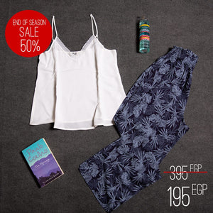 "Women summer pajama set with lace ""White top + Dark blue leaves pants"""