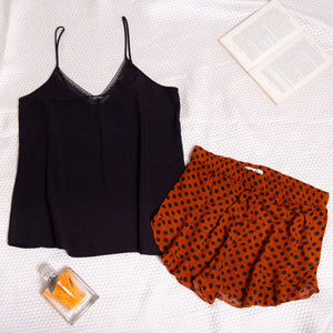 "Women summer pajama set ""Black top + Havane dotted shorts"""