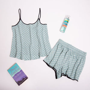 "Women summer pajama set ""Mint dotted top + shorts"""