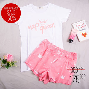 "Women summer pajama set ""Pink nap queen t-shirt + Shorts"""