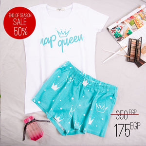 "Women summer pajama set ""Turquoise nap queen t-shirt + Shorts"""