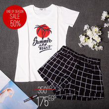 "Women summer pajama set ""Holiday printed t-shirt + Shorts"""