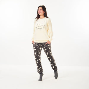 "Women Winter Pajama Set ""Off White Sweatshirt +Grey Moon Pants"""