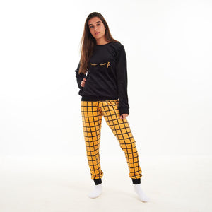 "Women Winter Pajama Set ""Black Sweatshirt + Yellow squares Pants"""