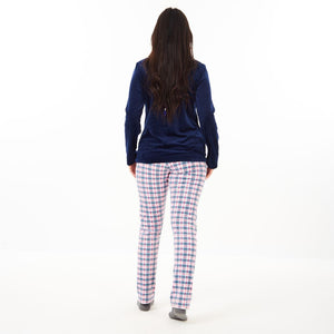 "Women Winter Pajama Set ""Dark Blue Sweatshirt + Fuchsia Checkered Pants"""