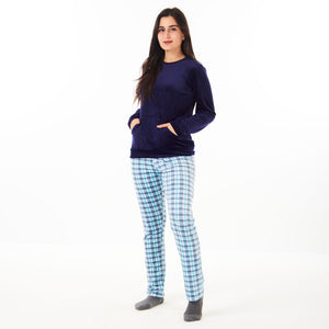 "Women Winter Pajama Set ""Dark Blue Sweatshirt +Turquoise Checkered Pants"""