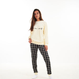 "Women Winter Pajama Set ""Off White Sweatshirt + Black squares Pants"""