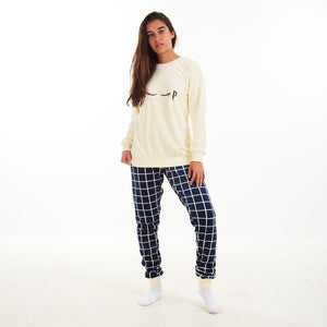 "Women Winter Pajama Set ""Off White Sweatshirt + Dark Blue squares Pants"""