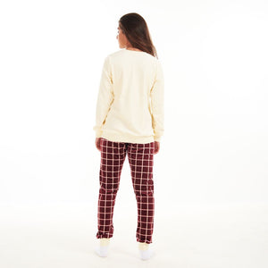 "Women Winter Pajama Set ""Off White Sweatshirt + Dark Red squares Pants"""