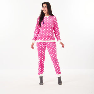 "Women Winter Pajama Set ""Pink Polka dots"""
