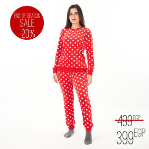 "Women Winter Pajama Set ""Red Polka dots"""