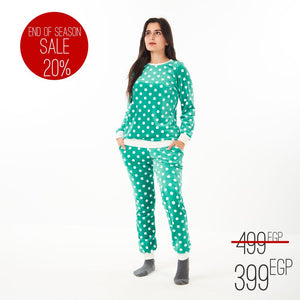 "Women Winter Pajama Set ""Turquoise Polka dots"""