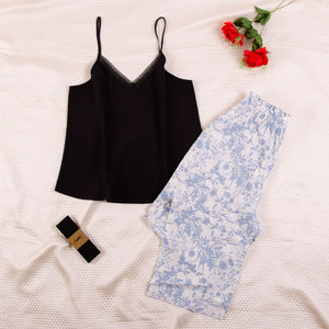 "Women summer pajama set with lace ""Black top + Blue flower pants"""