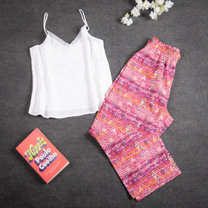 "Women summer pajama set with lace ""White top + Tribal pants"""