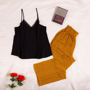 "Women summer pajama set with lace ""Black top + Dotted Yellow pants"""