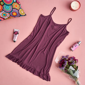 "Women summer pajama ""Purple ruffles night shirt"""