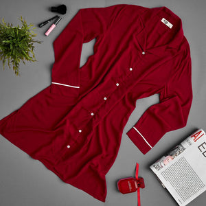 "Women summer pajama ""Maroon buttoned night shirt"""