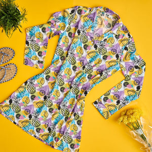 "Women summer pajama ""Pineapple buttoned night shirt"""
