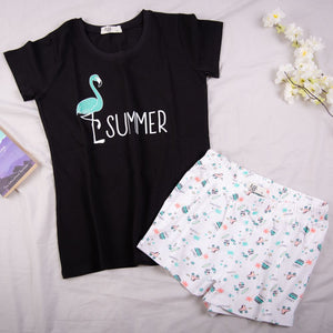 "Women summer pajama set ""Black flamingo t-shirt + Shorts"""