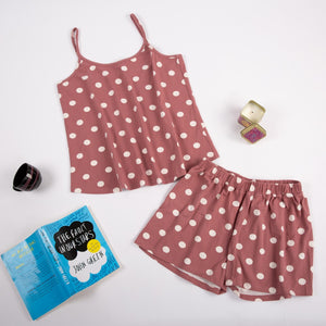 "Women summer pajama set ""Cashmere polka dots top + shorts"""