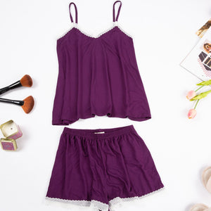"Women summer pajama set with lace ""Purple top + shorts"""