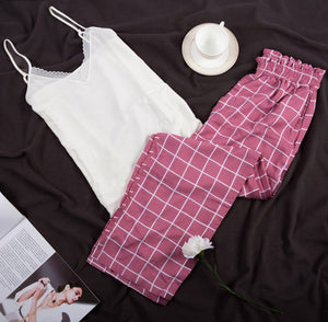 "Women summer pajama set with lace ""White top + Cashmere squares pants"""