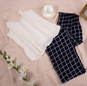 "Women summer pajama set with lace ""White top + Dark Blue squares pants"""