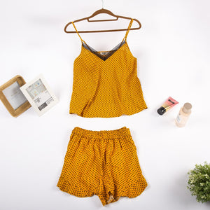 "Women summer pajama set with lace ""Yellow dotted top + shorts"""