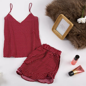 "Women summer pajama set with lace ""Dark Red dotted top + shorts"""