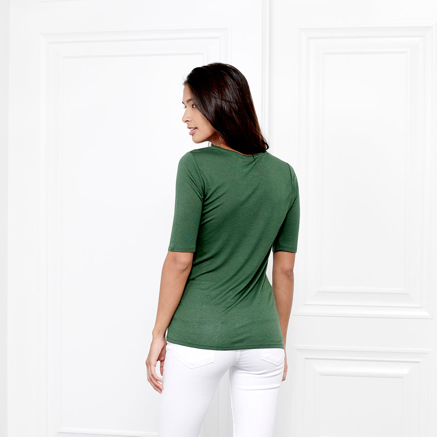 Cashmere Crew Neck Elbow Sleeve