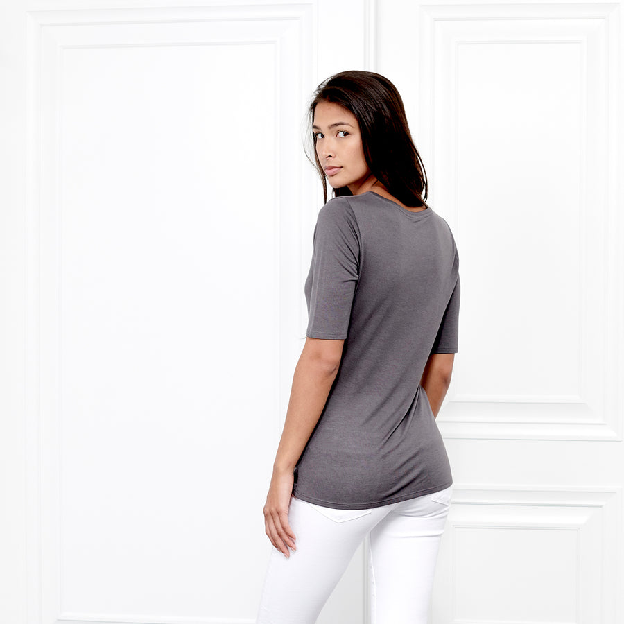 Cashmere Crew Neck Elbow Sleeve - Fite Luxury