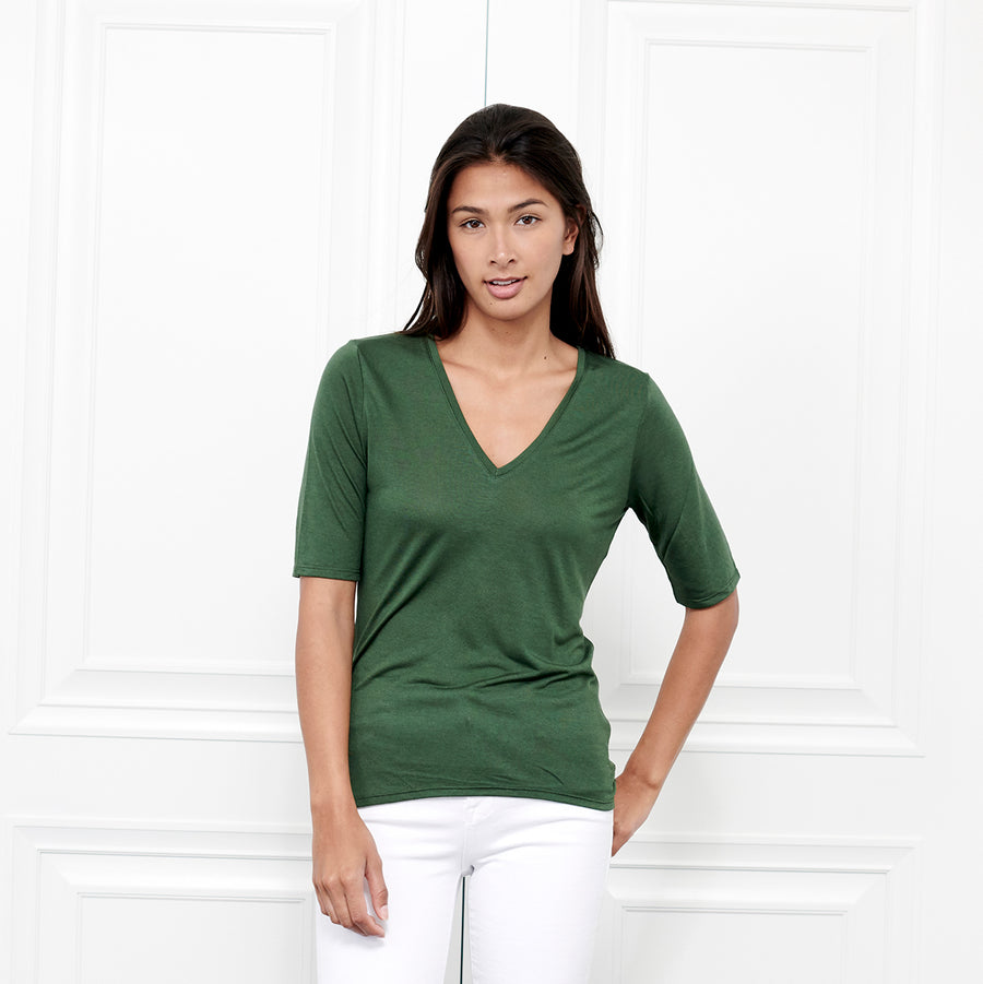 Cashmere V Neck Elbow Sleeve