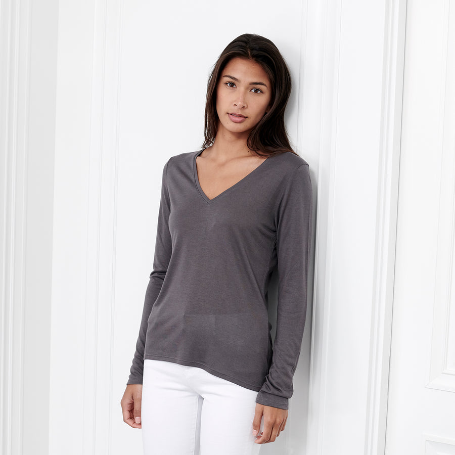 Cashmere V Neck Long Sleeve