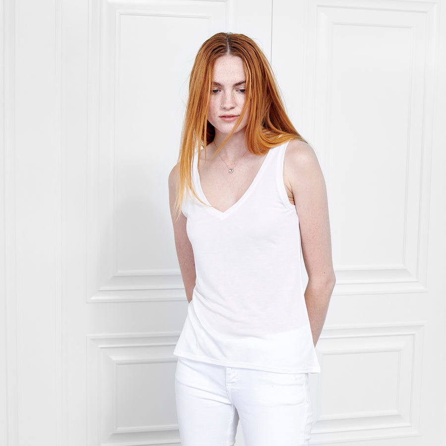 Cashmere V Neck Tank - Fite Luxury