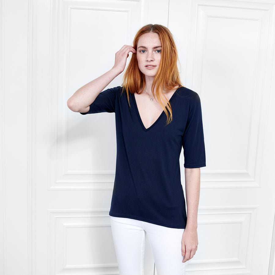 Cashmere V Neck Elbow Sleeve - Fite Luxury