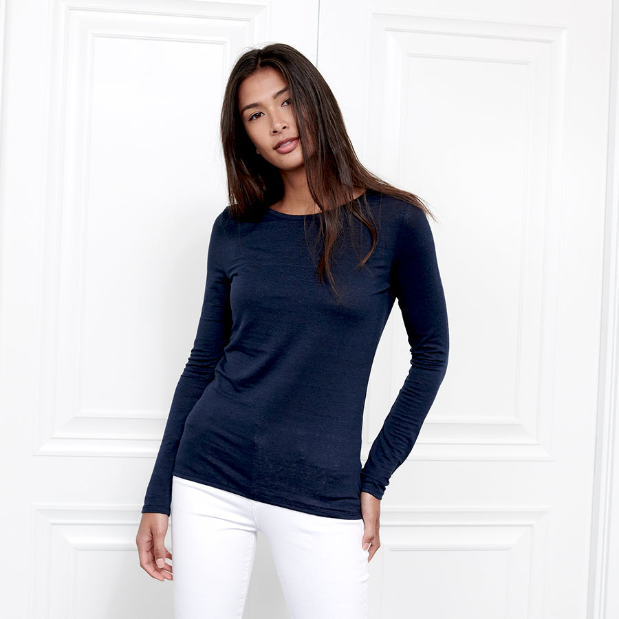 Linen Crew Neck Long Sleeve - Fite Luxury