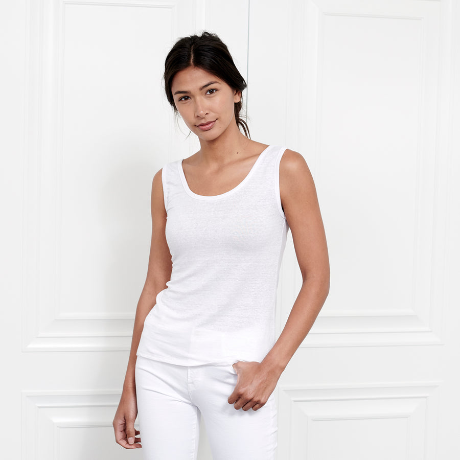 Linen Scoop Neck Tank - Fite Luxury