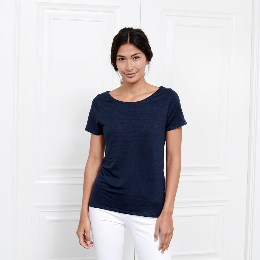 Linen Scoop Neck Short Sleeve