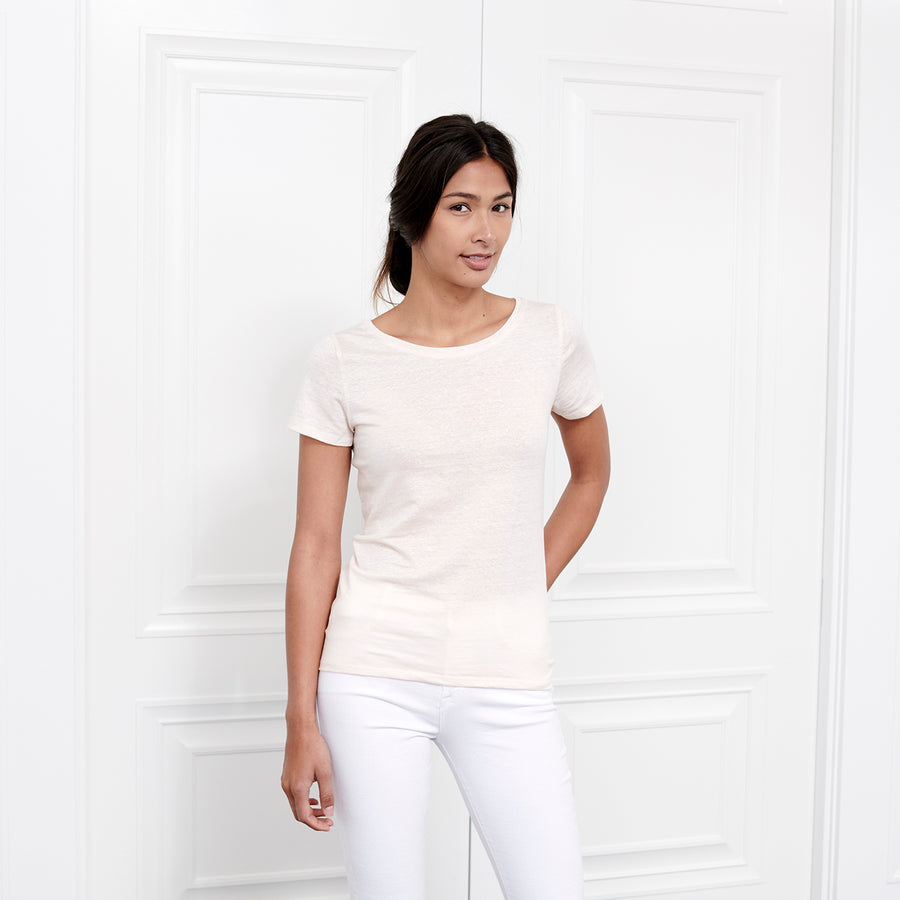 Linen Scoop Neck Short Sleeve - Fite Luxury