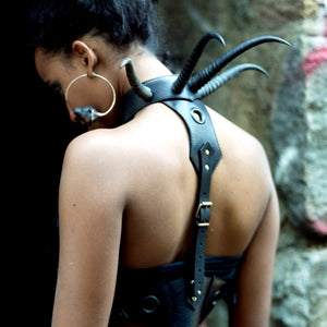 Horn Harness in photoshoot by Gretchen Heinel with Black Snow