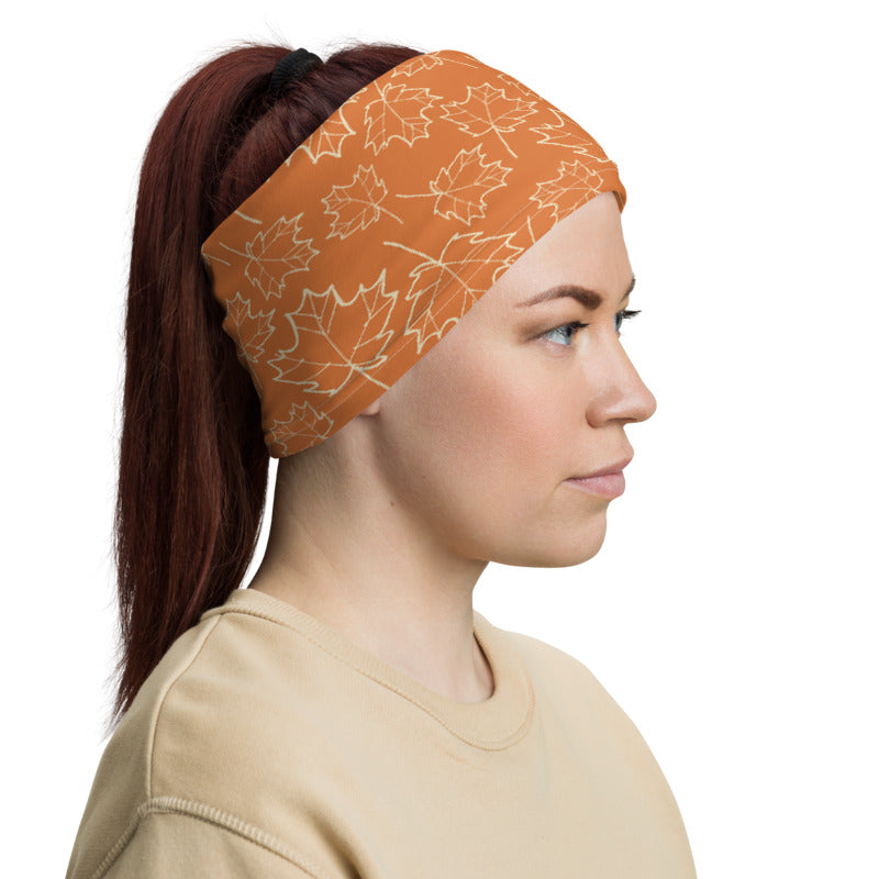 Maple Leaf Neck Gaiter (Almond Oil/Amber Glow)