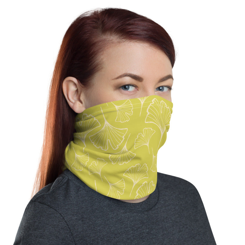 Ginkgo Leaf Neck Gaiter (Almond Oil/Green Sheen)