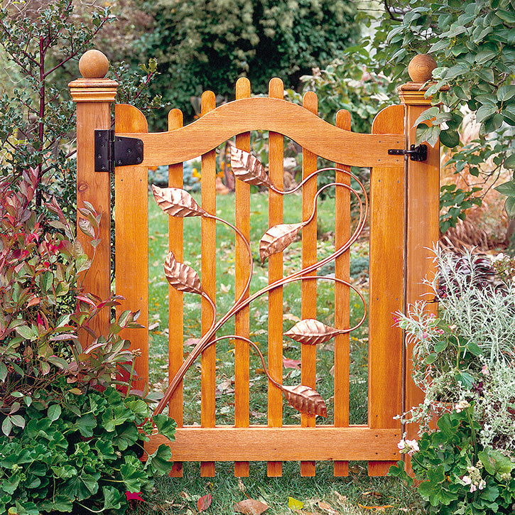 Cedar Picket Gate With Copper Leaf Details